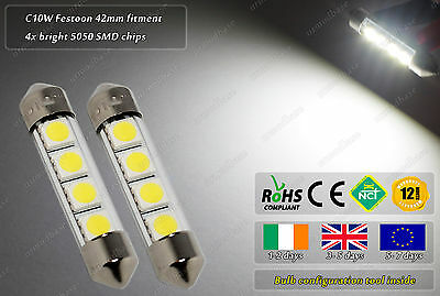 2x 42mm 41mm 264 C10W LED Xenon White 4500k Number Licence Plate Dome Bulbs