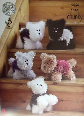 King Cole ChunkyToy Knitting pattern Dog large  small 9056