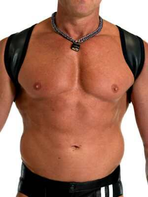 665 Leather Neoprene Slingshot Harness Black/Black S/M CH