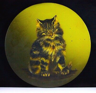 Antique Victorian Hand Painted Kitten Cat Portrait On Metal Charger Edith C.1902
