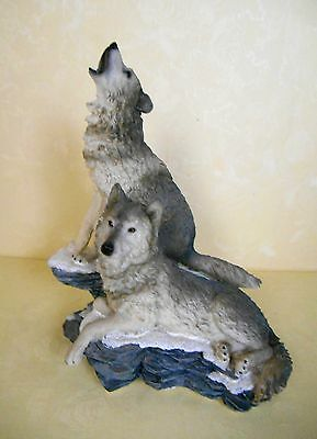 Home Interiors Howling At The Moon Wolf Figurine Statue 2002