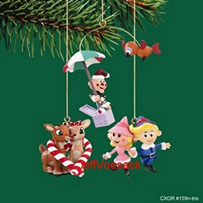"""Rudolph the Red Nosed Reindeer """"Miniature Set of 3""""  Carlton Cards Ornaments"""