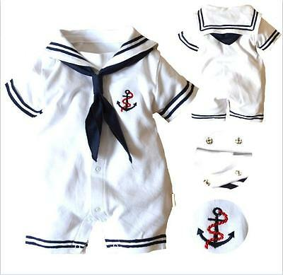 Baby Boy Sailor Romper White Navy Suit Grow Outfit Summer Marine 0 3 6 12 18m