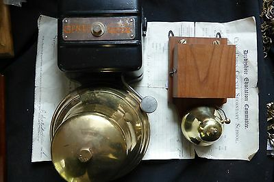 Restored Vintage Wood & Brass Electric Doorbell - 6 - 12 volts