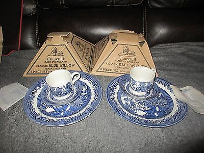 2 Unused 3 Piece Sets of CHURCHILL Blue Willow  DINNER PLATE Cup SAUCER with BOX