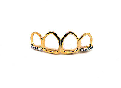 GRILLZ Gold Plated Top Row 4 Open Faced Teeth Hiphop Bling Grillz