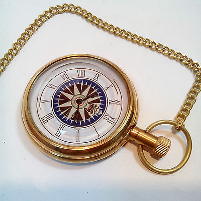 Vintage Antique Brass Nautical Pocket Watch Collectible ~ Clock Pendant