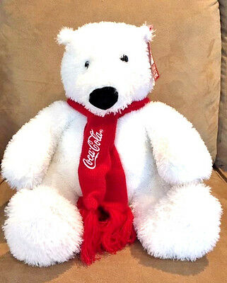 "12011 COCA COLA 14"" Stuffed Plush Polar Bear Toy - Scarf - Tag Attached"