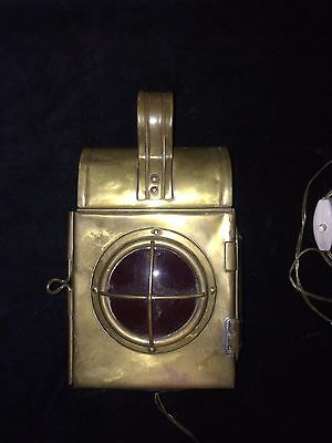 vintage old brass and bevelled glass railway lamp