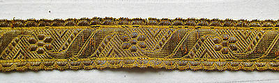 Vintage Gold Metallic Trim Repeating Blossom & Scroll Design  French
