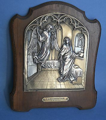 Archangel Gabriel and Virgin Mary Annunciation Bas Relief silver plated plaque