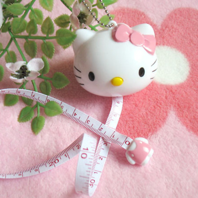 New 1M Lovely Cartoon Cat Mini Retractable Plastic Tape Measure Flexible Ruler