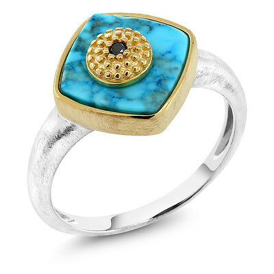 Turquoise & Black Diamond 14K Yellow Gold Plated 925 Sterling Silver Ring