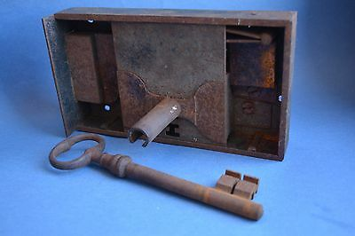 LARGE Antique iron door-lock set with orginal key