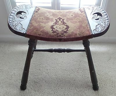 Antique Wood Birthing Stoole Original Cover With Brass Tacs Carved Ends Cir 1800