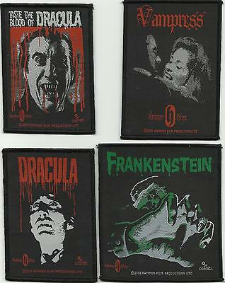 HAMMER HORROR bunch of x 4 dracula/frankenstein - WOVEN SEW ON PATCH official
