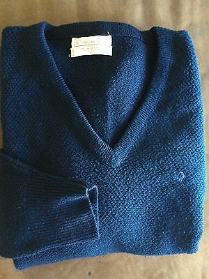 Christian Dior Vintage Mens V Sweater Navy Blue Size L 100% Orlon Acrylic