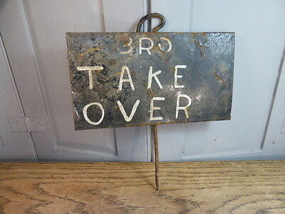 Antique marker from school sports day Relay Race 3rd Take Over sign