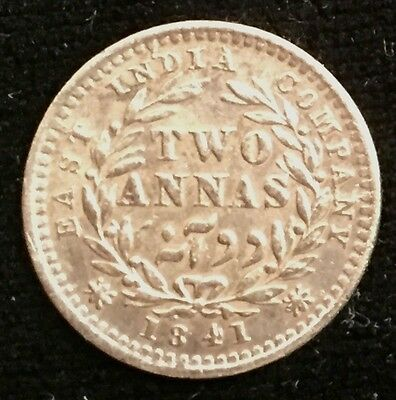 Young Queen Victoria 1841 Silver 2 Annas British East India Co. - from USA