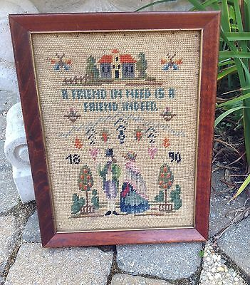 Vintage Sampler Cross Stitch Friend In Need Is A Friend Indeed