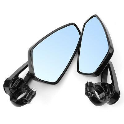 "Pair Universal 7/8"" Bar End Motorcycle Aluminum Side Rearview Mirror Black MA553"