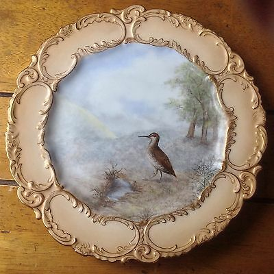 "Woodcock Bird Doulton Burslem Hand Painted 9"" Cabinet Plate Gilt c1891-1901"