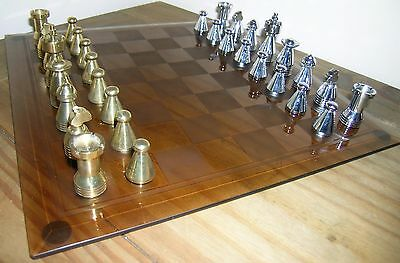 Collectable Solid Brass & Chromed Metal Chess Set