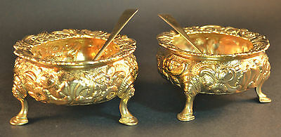Stunning Solid Silver Gilt Large Georgian 1821 Salts With Spoons
