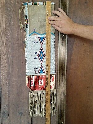Antique Sioux Indian Pipe Bag Beaded Quill Circa 1880