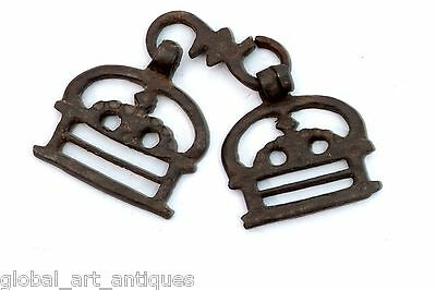 2 Pc Old Rare Iron 1930's Shape Handcrafted Belt Buckles, Rich Patina.G41-103