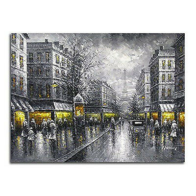 Large Painting Repro Canvas Print Wall Art Home Decor Gray Street Picture Framed