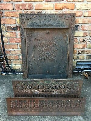 Antique 1800's ORNATE Cast Iron Fireplace Set Summer Cover/Surround/Grate/