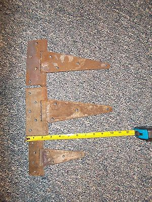 "3 Vintage Barn Door Gate Hinges Rustic Rusty Hardware Farm House (2) 10"" (1) 6"