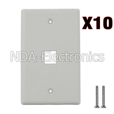 10 pack of Plastic Face Plate Cover 1 Port Wall Plate 1 Gang 2 Free Screws White