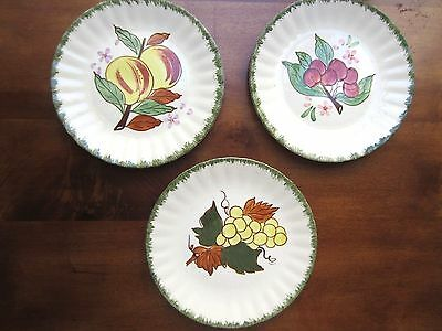 """Blue Ridge Hand painted Plates, set of 3 by Southern Potteriers , 8 1/4"""" dia"""