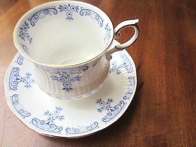 Collectible Vintage Footed Cup & Saucer in Fontainbleu byRosina China Co. Queens
