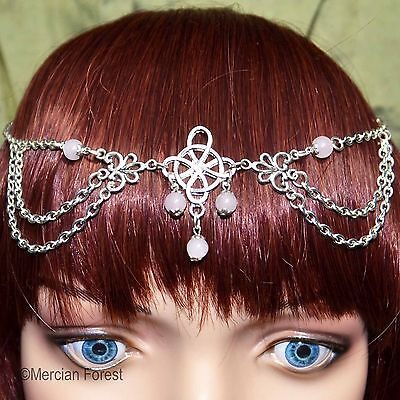 Witches Knot Headdress with Rose Quartz - Pagan Jewellery, Wicca, Gemstone