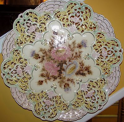 """Outstanding Zsolnay 16"""" Reticulated Floral Luster Painted Charger-The Very Best!"""