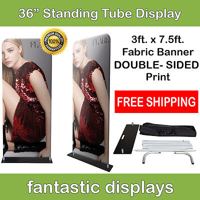 36x92 Fabric Tube Banner Stand EZ Display Tension DOUBLE SIDED Print Trade Show