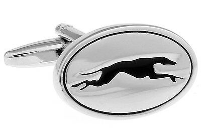 Silver and Black Enamel Oval Greyhound Best Run Dog Cufflinks Cuff Links NIB