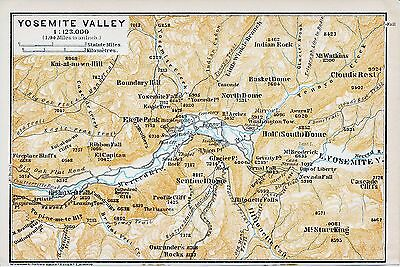 Yosemite Valley 1909 small orig. map + guide (13 p.) Sentinel Hotel Wawona Road