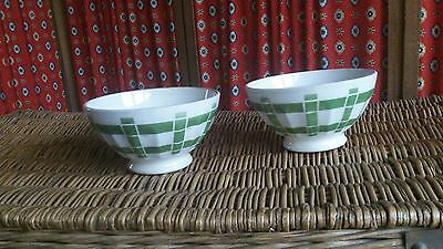 Pair of French Vintage Cafe au Lait / Hot Chocolate Bowls C 1920's