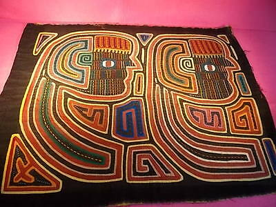 Mola Kuna- Hand Stitched-Art Fabric Embroidery-Tribal Folk Art- Panama-Vintage