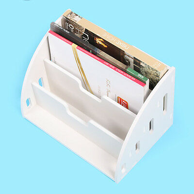 3 Layer White Wooden Magazine Rack Table Display Case Storage Holder Stand Gift