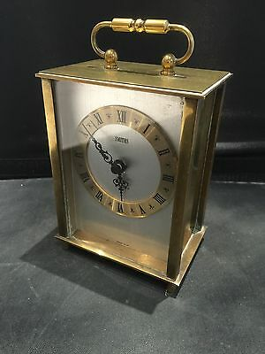 Vintage Solid Brass Smiths Quartz Carriage Clock Good Working Order Made In UK
