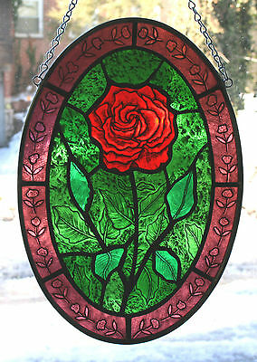 Stained Glass Hand Painted, Kiln Fired, Red Rose Oval, #2101 A