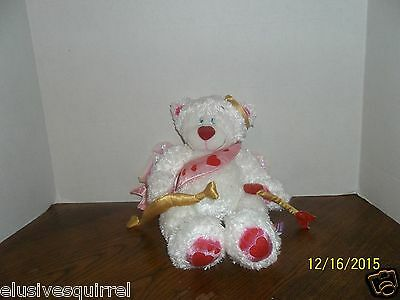 """First & Main Valentine's Day Cupid Beaumont White Teddy Bear Plush 12"""" Tall"""