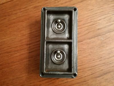 Classic Industrial Vintage Cast Iron Britmac Factory Double Light Switch Twin 2