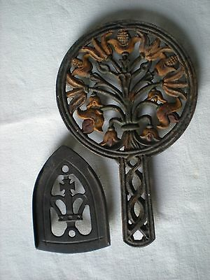 2 Vintage Antique Cast Iron Trivets