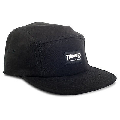 New THRASHER Skateboard Magazine Skate Mag Logo 5-Panel Strapback Hat (Black)